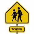 School Crosswalk Warning Sign - Stock Photo