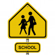 School Crosswalk Warning Sign — Stock Photo