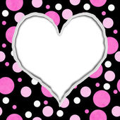 Pink and Black Polka Dot Torn Background for your message or inv — Stockfoto