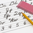 Learning cursive writing — Stock Photo