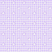 Purple Gingham Fabric with ducks Background — Stock Photo