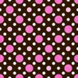 Pink, White and Brown Polka Dot Fabric Background — Stock Photo