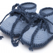Stock Photo: Blue Hand-made baby booties
