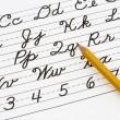 leren het cursieve schrijven — Stockfoto