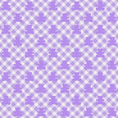 Light purple Gingham Fabric with Teddy Bears Background — Stock Photo
