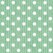 Green and White Polka Dot and Stripes Fabric Background — Photo