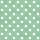 Green and White Polka Dot and Stripes Fabric Background — Stock Photo