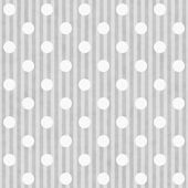 Gray and White Polka Dot and Stripes Fabric Background — Stock Photo