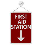 First Aid Station sign — Stock Photo