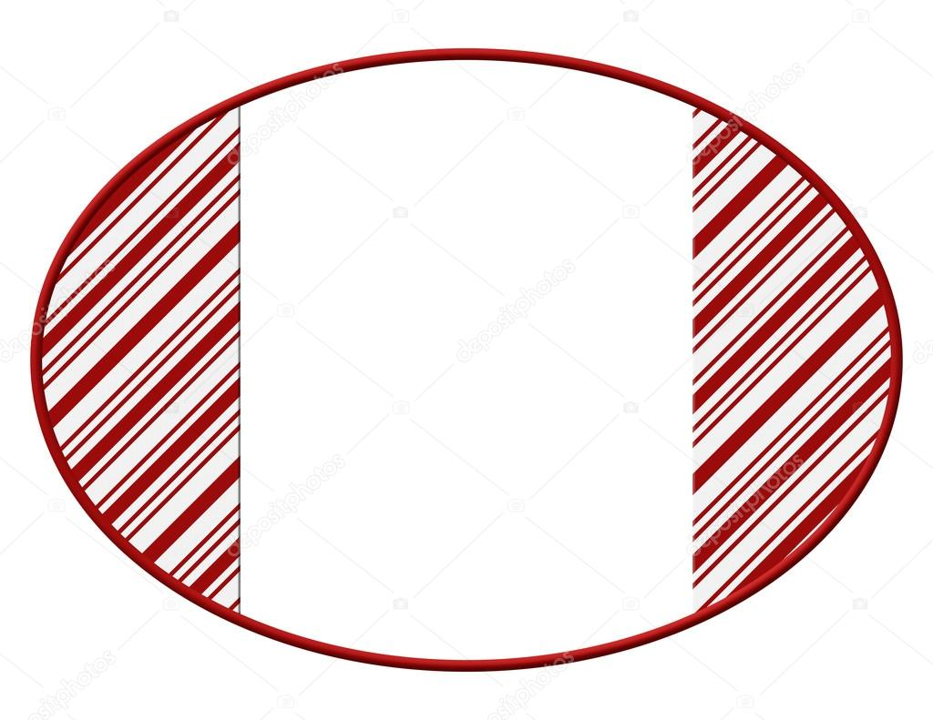 Candy Cane Borders Oval christmas candy cane