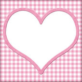 Pink Gingham with white heart for your message background — Stock Photo