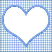 Blue Gingham with white heart for your message background — Stock Photo