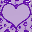 Purple retro ornaments with white heart for your message backgro — Stock Photo