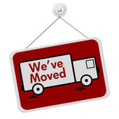 We Have Moved Sign — 图库照片
