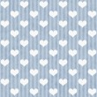 Blue and White Hearts and Stripes Fabric Background — Stok fotoğraf