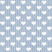 Modré a bílé srdce a pruhy látky pozadí — Stock fotografie