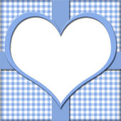 Blue Gingham with Heart Center and Ribbon Background for your me — Stock Photo