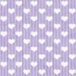 Purple and White Hearts and Stripes Fabric Background — Stock Photo