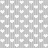 Gray and White Hearts and Stripes Fabric Background — Stock Photo