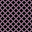 Stock Photo: Black, Pink and White Interlaced Circles Textured Fabric Backgro
