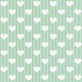 Green and White Hearts and Stripes Fabric Background — Stock Photo