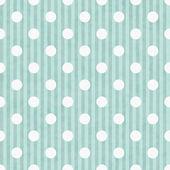 Aqua and White Polka Dot and Stripes Fabric Background — Stock Photo
