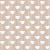 Ecru and White Hearts and Stripes Fabric Background — Stock Photo