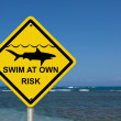 Use caution when swimming because sharks are present — Stock Photo