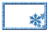 Blue plaid frame with snowflakes for your message or invitation — Stock Photo
