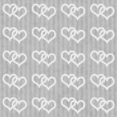 Gray and White Interlocking Hearts and Stripes Textured Fabric B — Stock Photo