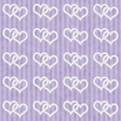 Purple and White Interlocking Hearts and Stripes Textured Fabric — Stock Photo