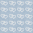 Blue and White Interlocking Hearts and Stripes Textured Fabric B — Stock Photo