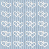 Blue and White Interlocking Hearts and Stripes Textured Fabric B — Foto Stock