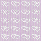 Pink and White Interlocking Hearts and Stripes Textured Fabric B — Stock Photo