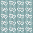 Teal and White Interlocking Hearts and Stripes Textured Fabric B — Stock Photo