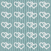 Teal and White Interlocking Hearts and Stripes Textured Fabric B — Foto Stock