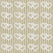 Beige and White Interlocking Hearts and Stripes Textured Fabric — Stock Photo