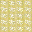 Yellow and White Interlocking Hearts and Stripes Textured Fabric — Stock Photo