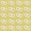 Yellow and White Interlocking Hearts and Stripes Textured Fabric — Stock Photo #34606881