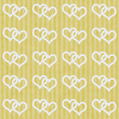 Yellow and White Interlocking Hearts and Stripes Textured Fabric — Foto Stock