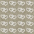Brown and White Interlocking Hearts and Stripes Textured Fabric — Foto Stock