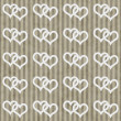 Brown and White Interlocking Hearts and Stripes Textured Fabric — Stock Photo