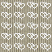 Brown and White Interlocking Hearts and Stripes Textured Fabric — Stok fotoğraf