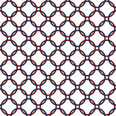 Blue, Red and White Interlaced Circles Textured Fabric Backgroun — Stock Photo