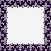 Purple and Gray Fleur De Lis Textured Fabric Background — Stock Photo