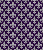 Purple and Gray Fleur De Lis Textured Fabric Background — Stock Photo