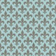 Teal and Gray Fleur De Lis Textured Fabric Background — Stock Photo #35074285