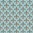 Stock Photo: Teal and Gray Fleur De Lis Textured Fabric Background