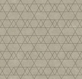 Beige Line and Zigzag Patterned Textured Fabric Background — Stock Photo