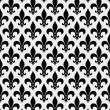 Black and White Fleur De Lis Textured Fabric Background — Stock Photo